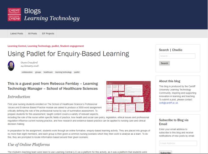 Using 'Padlet' for Enquiry -Based Learning | Bex Ferriday's Edutechy
